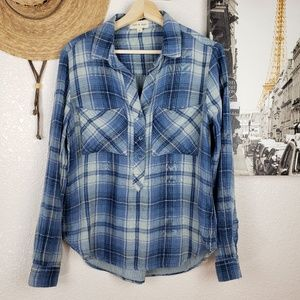 Cloth & Stone Parker Plaid Tunic Popover Shirt